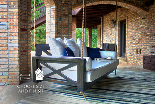 Finley Wood Porch Swing Bed Daybed, Twin Size, Charred Ember Finish. Pictured with our Sketched Indoor / Outdoor Rug.