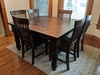 Charlotte Dining Chairs in Dark Walnut stain paired with a Square Baluster Turned Leg Table.