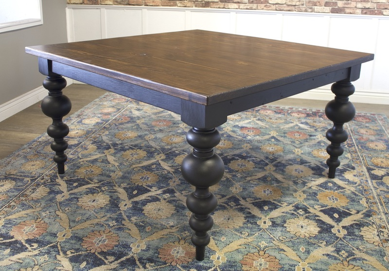 """55"""" x 55"""" Square Olivia Modern Turned Leg Table with a jointed top in Dark Walnut stain with a Black painted base."""
