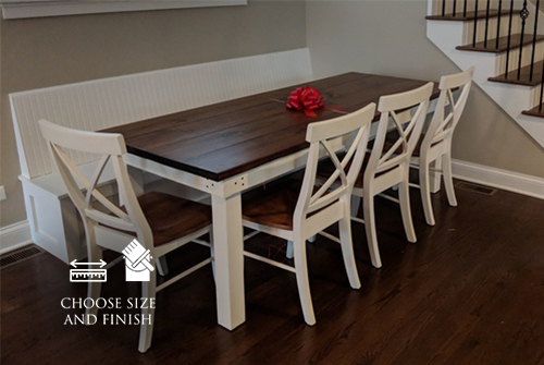 Farmhouse Table in Early American finish and ivory paint. Pictured with matching X-Back Chairs.