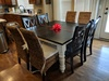 """66"""" Square Baluster Table in Midnight stain and ivory paint. Pictured with our Banana Leaf Chairs and Double X-Back Chairs."""