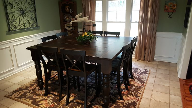 "66"" x 66"" x 36"" H Counter Height Square Table with Baluster Turned Legs in Kona Stain with a traditional top and endcaps. Paired with X-Back Stools."