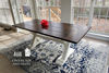 """7' x 37"""" Trestle Table without apron in Dark Walnut stain and ivory painted base with traditional boarded top and end caps."""