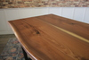 James+James Signature Line Table #03 Black Walnut Live Edge Slabs. Pictured with our Trapezoid Base.
