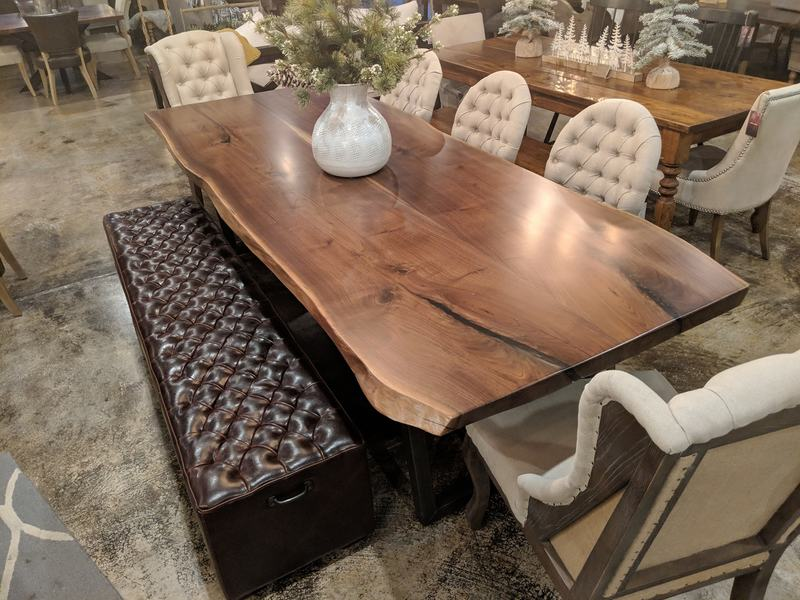 James+James Signature Line Table #03 Black Walnut Live Edge Slabs. Pictured with our Trapezoid Base. Pictured with our Sophie and Anna chairs and Hemingway Bench.