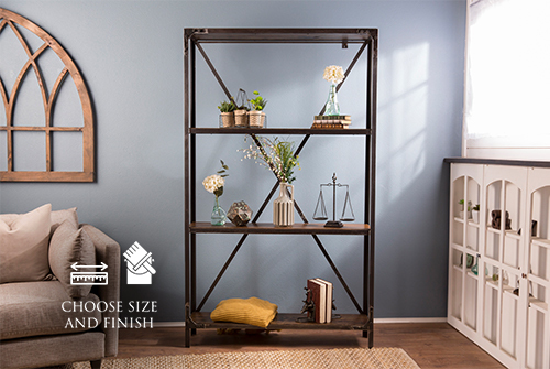 "Custom Factory Metal Bookshelf approx. 81"" Tall x 5' W x 11.25"" D in Dark Walnut Stain with 4 shelves."