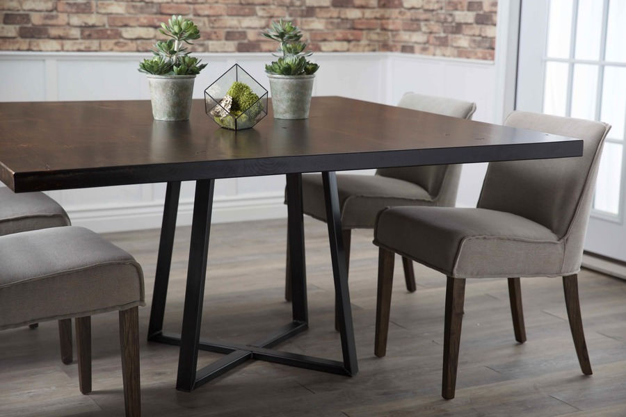 """60"""" Steel Pedestal Welded Dining Table in Tobacco Finish."""