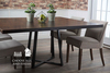 "60"" Steel Pedestal Welded Dining Table in Tobacco Finish."