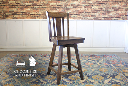William Swivel Stool, counter height, in Dark Walnut stain.