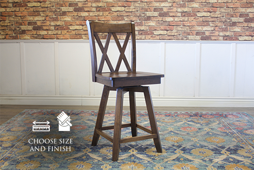 Double X-Back Swivel Stool, counter height, in Dark Walnut stain.