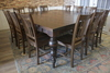"84"" x 84"" square dining table that seats 12 people. Tobacco Finish. Pictured with Bailey Turned Legs"