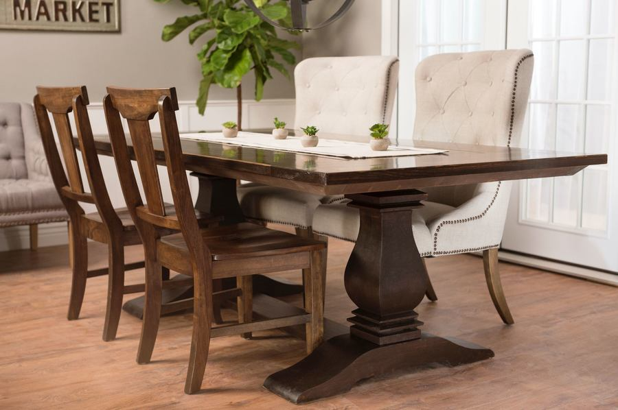 "7' x 45"" Heirloom Pedestal Dining Table in Kona stain, traditional top with end caps. Pictured with Grace wood chairs and Eloise Upholstered Dining Chairs. Also featured: Our dove grey settee and our Castello 6 light black orb chandelier."