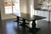 "11' L x 45"" W Heirloom Pedestal Dining Table - Upgraded to Alder Hardwood in Charred Ember finish."