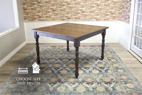 """55"""" x 55"""" x 36"""" H Square Country French Turned Leg Table in Dark Walnut stain with a jointed top. All knots filled per customer's request."""