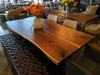 James+James Signature Line Table #06 Black Walnut Live Edge Slabs. Pictured with our Trapezoid Base.
