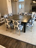 """66"""" X 66"""" Square Farmhouse Dining Table - Boarded with Endcaps, Industrial Grey - Vintage top finish and a Painted Black base finish."""