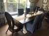 """7.5' X 37"""" Trestle Table with Boarded Endcaps, Dark Walnut Top Color, Custom Sherwin Williams painted Base and Filled Knots."""