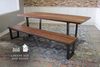 Black Walnut Industrial Steel Trapezoid Table and the Black Walnut Black Walnut Industrial Steel Trapezoid Bench both Satin Finish - No Stain.