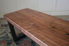 Black Walnut Industrial Steel Trapezoid Bench, Satin Finish - No Stain