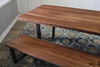 Black Walnut Industrial Steel Trapezoid Bench and Table, Satin Finish - No Stain