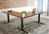Sit to Stand Power Adjustable Corner L-Shaped Desk with Tuscany Finish.