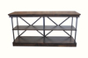 Steel and Wood Console Shelf with Tobacco finish.