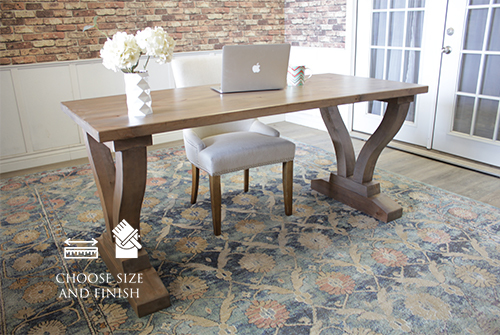 "Vera Writing Desk 30"" Wide x 30"" High x 6'  Length in Barn Wood Finish."