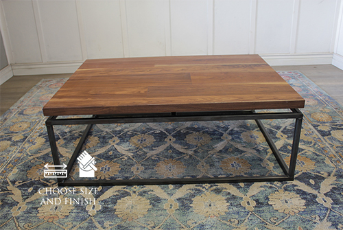 Black Walnut Floating Top Steel Base Coffee Table in Satin Finish - No Stain