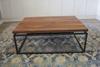 Black Walnut Floating Top Steel Base Coffee Table