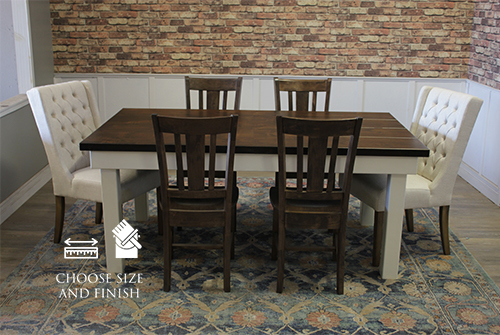 Farmhouse Table - Hardwood, Boarded Look in Tobacco Finish with Boarded Look / Grooved top and Ivory Painted base. Also pictured William Dining Chair in Tobacco Finish and the Lauren Tufted Linen Chair in Off White Linen