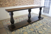 """Custom 3 base Vivien Turned Pedestal Console Table in Tobacco Finish 96"""" L  X 18"""" W  X 36"""" H"""