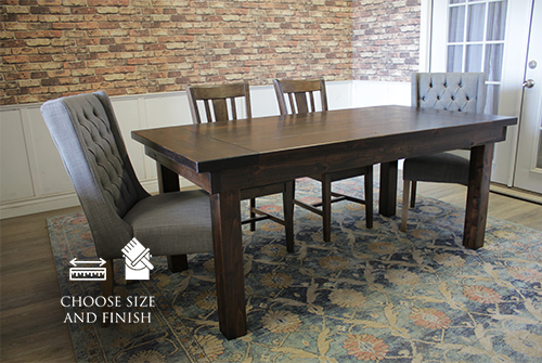 Farmhouse Table - Hardwood in Tobacco Finish with Boarded Look / Grooved top with Endcaps and Tobacco Finish base. Also pictured William Dining Chair in Tobacco Finish and the Lauren Tufted Linen Chair in Oxford Warm Grey