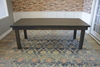 Farmhouse Table - Hardwood in Deep Grey Finish with Boarded Look / Grooved top and Endcaps