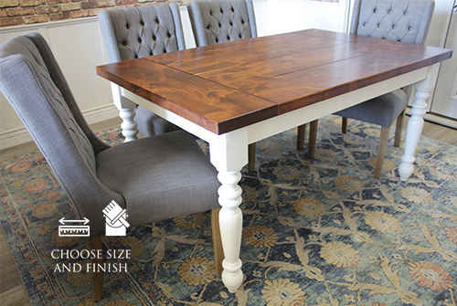 Country French Turned Leg Table with a Tuscany Finished Top the has the Boarded Look with Endcaps. The base is an Ivory painted base. Also pictured Lauren Tufted Linen Chair in Oxford Warm Grey Linen.