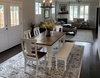 """Grace Dining Chairs in custom distressed Ivory. Also featured is custom distressed Ivory our Dianne Bench and 6"""" x 37"""" Baluster Turned Leg Table with a top that is Boarded with Endcaps and Early American Stain. The base is a custom distressed base in Ivory."""