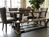 "Morgan Linen Dining Chair with Nailhead Trim Warm Gray. Also pictured a Custom 76"" L x 35"" W x 30"" H in Barn Wood Finish with Top Knots Filled and a custom 76"" L Vera Dining Bench in Barn Wood Finish."
