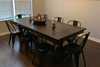 """8"""" L x 42"""" W Trestle Table with Apron, Boarded with Endcaps, clear Epoxy Filled Top Knots, and Dark Walnut Stain."""