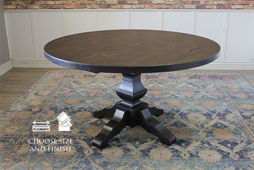 "54"" Round Pedestal Table with Natural Open Knots in Charred Ember Finish."