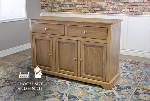 "Farmhouse Buffet in Harvest Wheat Finish. 54"" wide, 18"" deep, 75.5"" tall"