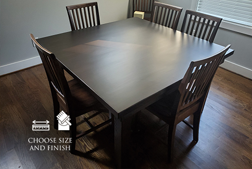 "55"" x 55"" in Square Farmhouse Dining Table , Jointed Top in Charred Ember Finis with the knots on the top of the table filled with clear epoxy."