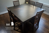 """55"""" x 55"""" in Square Farmhouse Dining Table , Jointed Top in Charred Ember Finis with the knots on the top of the table filled with clear epoxy."""