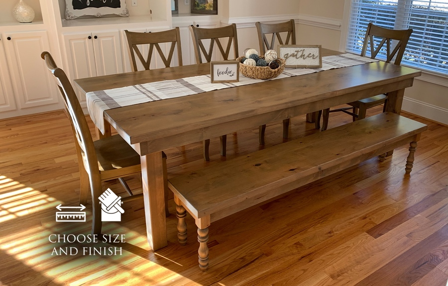 "8' L x 45"" W Farmhouse Table, Jointed Top in Harvest Wheat Finish with Knots on Top of Table Filled With Clear Epoxy. Also pictured our Double X Back Dining Chairs in Harvest Wheat Finish and the Annli Bench with Knots on Top of Bench Filled With Clear Epoxy in Harvest Wheat Finish"