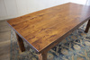 Farmhouse Table - Hardwood in Tuscany Finish with Boarded Look / Grooved top and Tuscany Finish base.