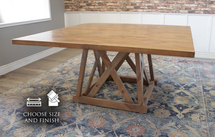 "60"" Julia Square Dining Table with Natural Open Knots in Harvest Wheat Finish"