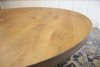 """60"""" Julia Round Dining Table with Natural Open Knots in Harvest Wheat Finish"""
