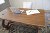 5' L Black Walnut Carved Trestle Computer Desk with Power Grommet Add On in Satin - No Stain Finish