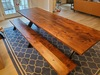 """9.5' x 37"""" Industrial Steel X-Base Table in Tuscany Finish with Filled Top Knots. Also pictured our 9.5' Industrial Steel X-Base Bench in Tuscany Finish with Open - Natural Knots."""