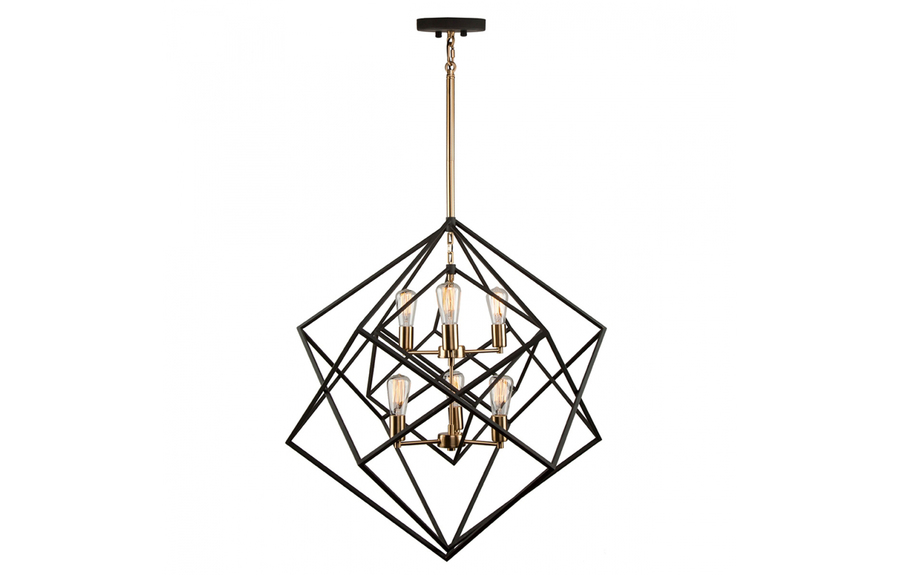 Artistry Chandelier in Matte Black & Satin Brass