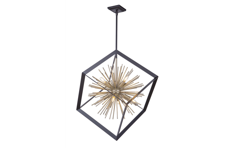 Sunburst Chandelier in Matte Black & Satin Brass