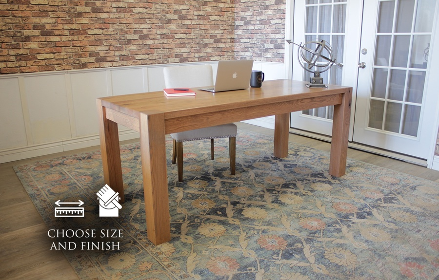 "6' L x 30"" W x 30"" H Red Oak Writing Desk in Satin Finish. Also pictured our Ashford Linen Chair."